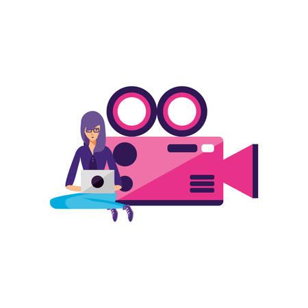 woman using laptop with video camera app vector illustration design Иллюстрация