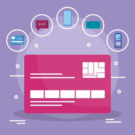 credit card with ecommerce icons vector illustration design Ilustracja