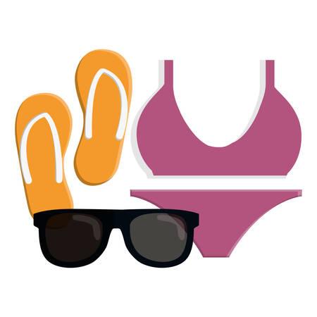female swimsuit bikini with flip flops and sunglasses vector illustration design