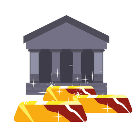 bank gold bars investment economy vector illustration