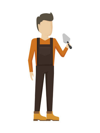 worker construction man with spatula vector illustration design 일러스트