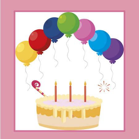 sweet cake birthday with balloons helium frame vector illustration design Ilustração