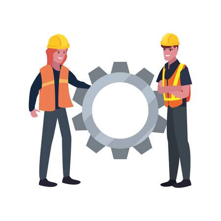 construction worker male female gear vector illustration design  イラスト・ベクター素材