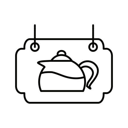 label of wooden with teapot kitchen vector illustration design