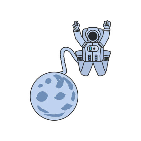 astronaut suit jumping with hose and moon vector illustration design Ilustrace