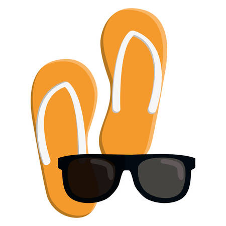 flip flops and sunglasses vacations icons vector illustration design