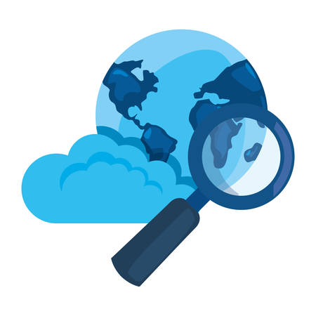 world cloud computing magnifier cybersecurity data protection vector illustration Illustration