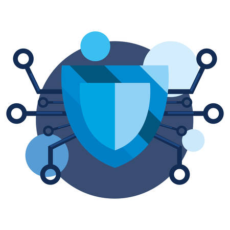 shield connection cybersecurity data protection vector illustration