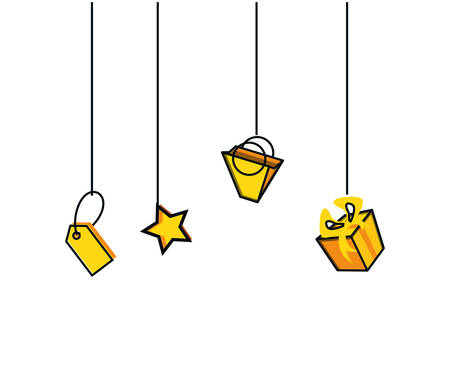 tag commercial hanging with star and set icon vector illustration design Stock Vector - 130098497