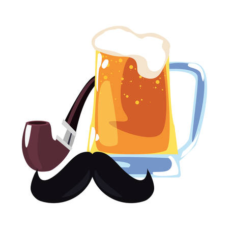 beer tobacco pipe mustache happy fathers day vector illustration