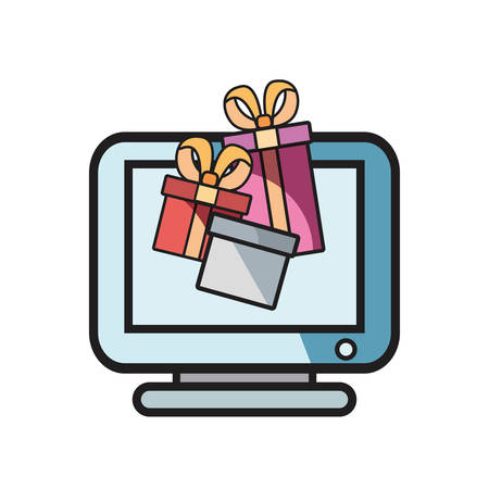 online shopping computer gifts on white background vector illustration
