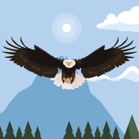 beautiful bald eagle flying in the snowscape vector illustration design  イラスト・ベクター素材
