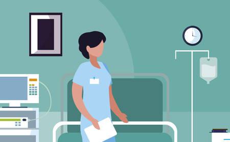female medicine worker in opearing theater vector illustration design Иллюстрация