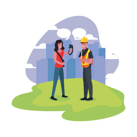 female photographer and builder labour day vector illustration