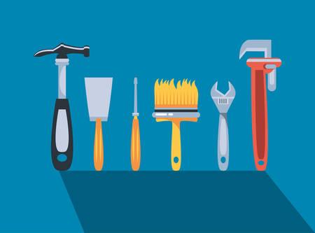 hammer with set tools construction vector illustration design  イラスト・ベクター素材