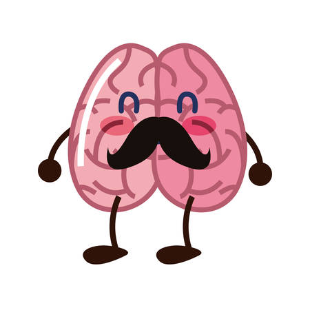 brain cartoon character with mustache vector illustration