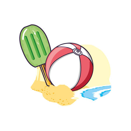ice cream with stick in the beach and ball plastic vector illustration design