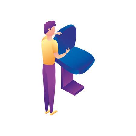 businessman worker with office chair vector illustration design Ilustração
