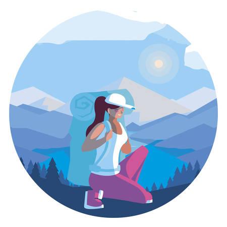 adventurous woman with travelbag in the snowscape vector illustration design Illusztráció