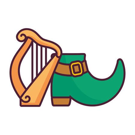 leprechaun boot with harp vector illustration design  イラスト・ベクター素材