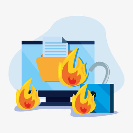 computer lock folder fire cybersecurity data protection vector illustration