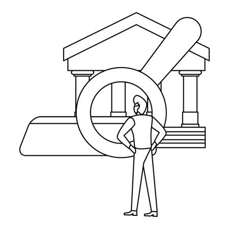 businessman with magnifier analysis bank vector illustration