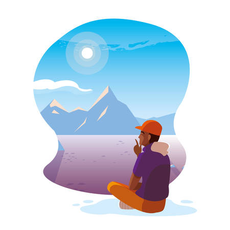 afro man seated observing snowscape nature vector illustration design  イラスト・ベクター素材