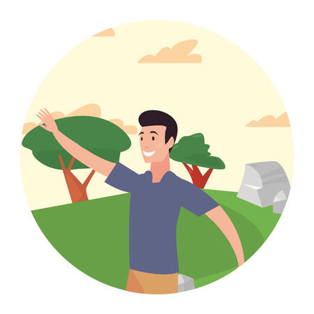 man standing in the park activity outdoors vector illustration