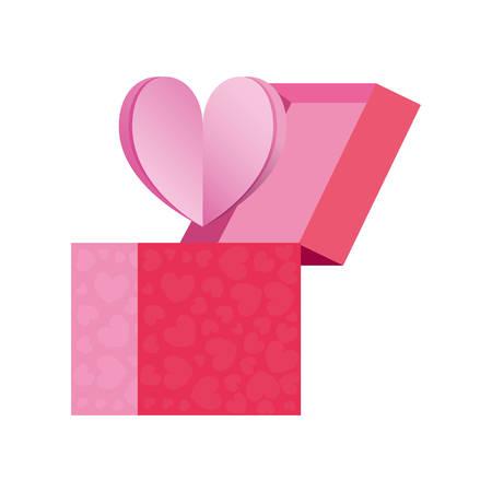gift box love heart romantic vector illustration Imagens - 130156191