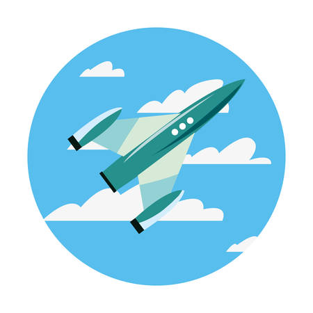 rocket spaceship flying in the sky vector illustration Ilustracja