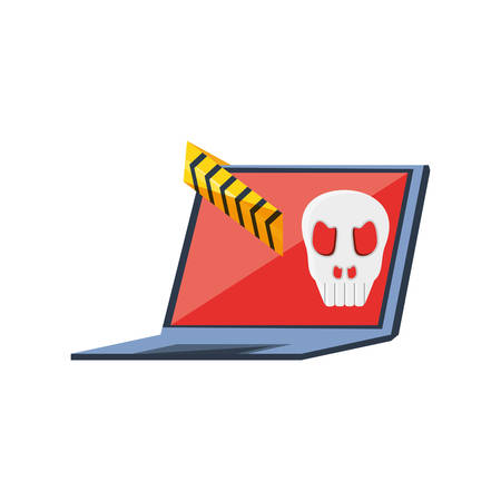 laptop computer with virus attack vector illustration design Illusztráció