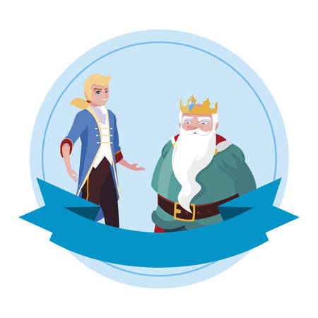 prince charming with king characters vector illustration design