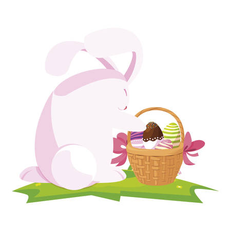 cute rabbit easter with eggs painted in basket vector illustration design Illusztráció