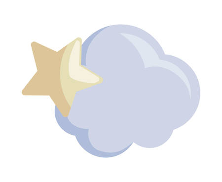 star with cloud isolated icon vector illustration design