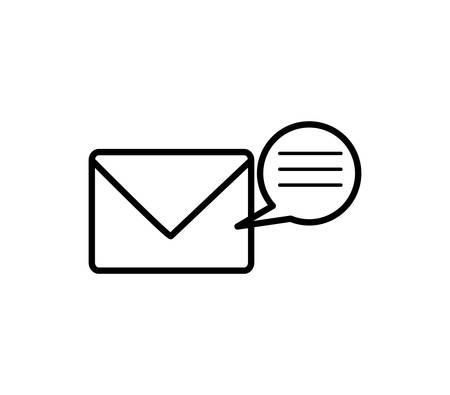envelope mail with speech bubbles vector illustration design
