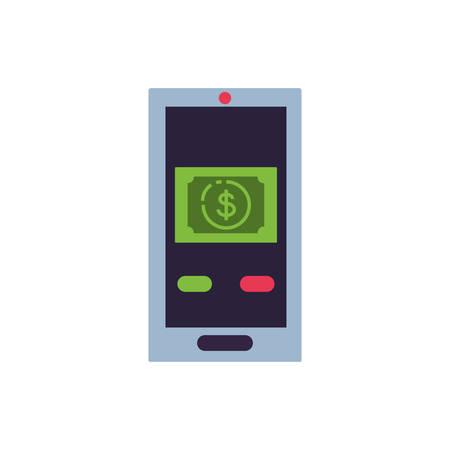 smartphone device with bill dollar vector illustration design Illusztráció