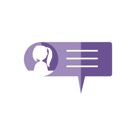 female user account in speech bubble vector illustration design
