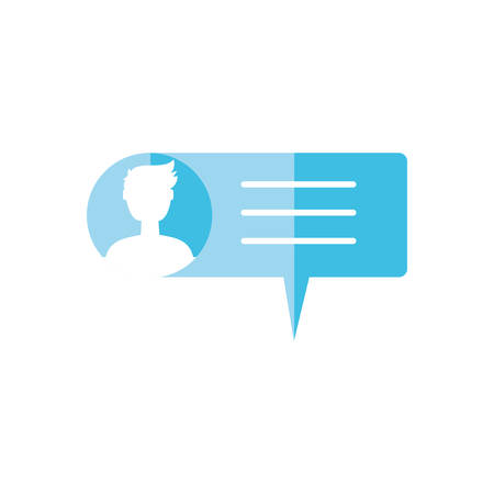 male user account in speech bubble vector illustration design Ilustracja