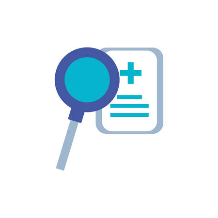 magnifying glass with document of hospital vector illustration design