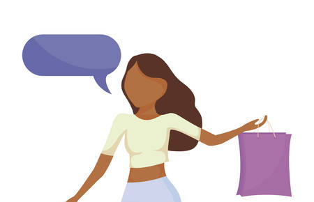 woman with shopping bag and speech bubble vector illustration design Ilustração
