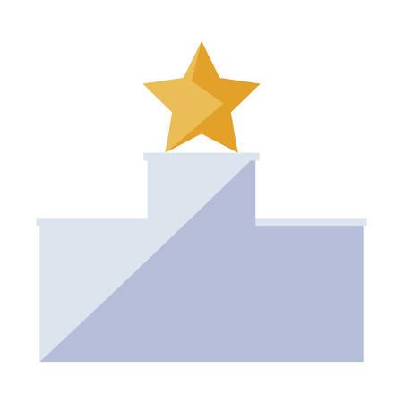 winning star in podium vector illustration design