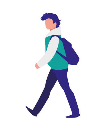 young man with pose of modeling vector illustration design