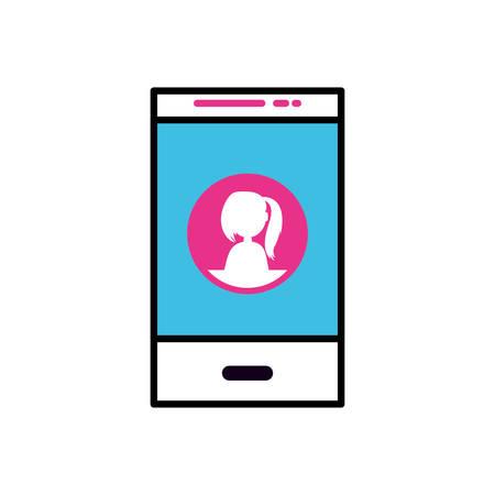 smartphone with female user profile vector illustration design Illusztráció