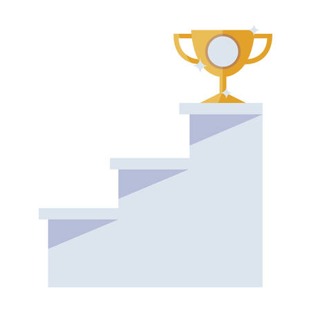 trophy cup championship in stairs up vector illustration design Stock Illustratie