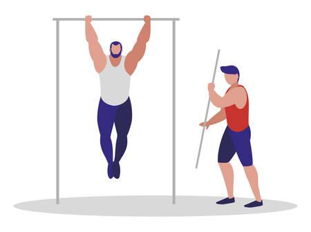 athletic men practicing exercises vector illustration design