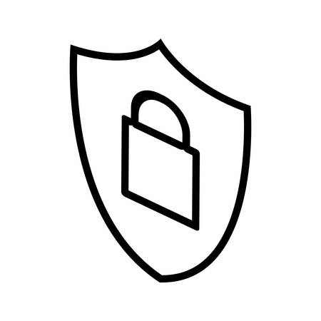 security shield and padlock vector illustration design