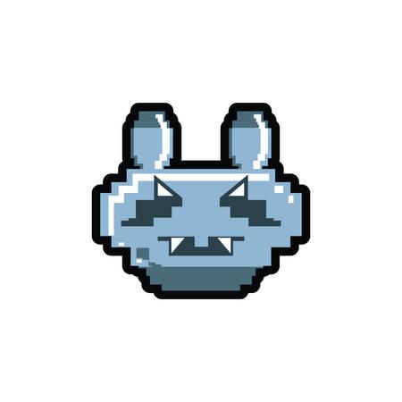 video game pixelated robotic dog vector illustration design
