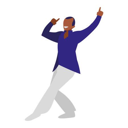 young black dancer disco style character vector illustration design 向量圖像