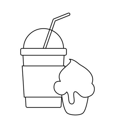 milkshake with cupcake isolated icon vector illustration design