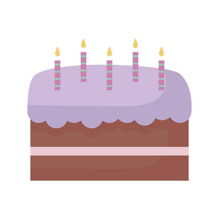 sweet cake with candles isolated icon vector illustration design Illusztráció